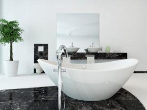Baignoire îlot dans une salle de bain design