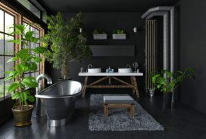 Baignoire en acier dans une salle de bain design