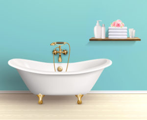 Baignoire sur pied dans une salle de bain rétro